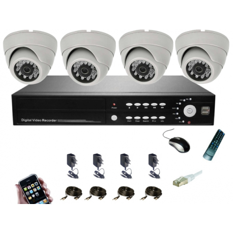 pack vid osurveillance 4 cam ras vision distance camera. Black Bedroom Furniture Sets. Home Design Ideas
