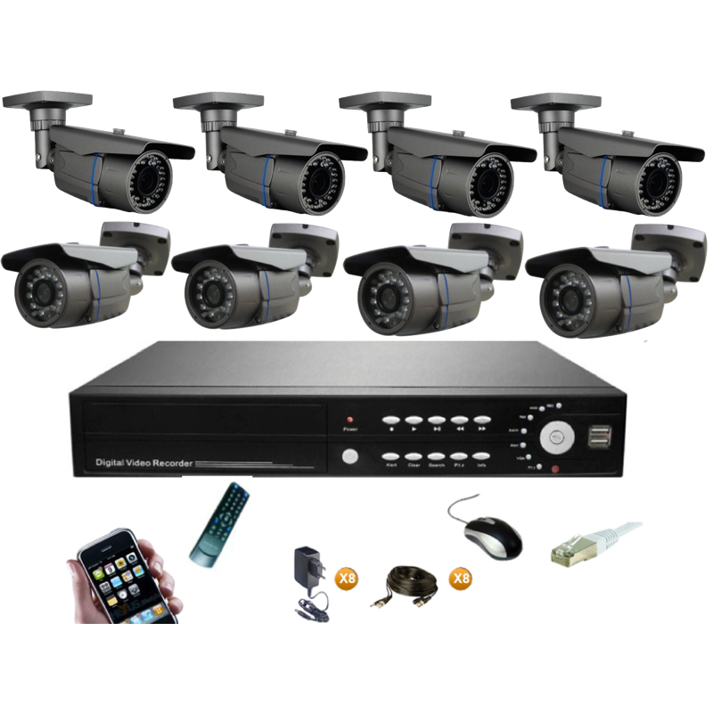 pack vid osurveillance 8 cam ras tube ir 60m camera. Black Bedroom Furniture Sets. Home Design Ideas