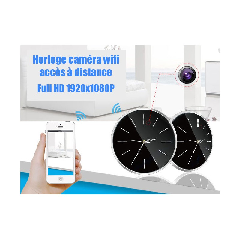 horloge cam ra espion wifi acc s distance micro sd. Black Bedroom Furniture Sets. Home Design Ideas