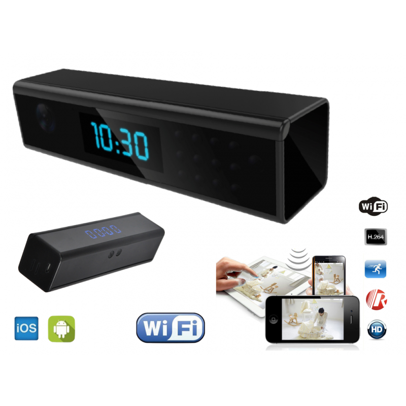 horloge cam ra espion wifi acc s distance camera. Black Bedroom Furniture Sets. Home Design Ideas